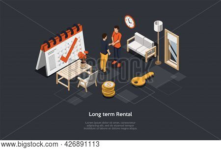 Conceptual Illustration With Text. Isometric Vector Composition. Cartoon 3d Style Design. Long-term