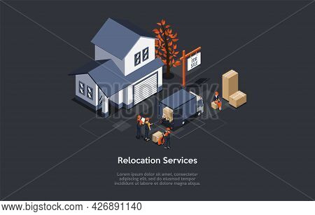 Vector Illustration, Relocation Services Concept. Isometric 3d Composition, Cartoon Style. Suburban