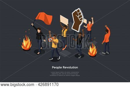 Isometric Composition On Dark Background. Vector 3d Illustration In Cartoon Style. People Revolution