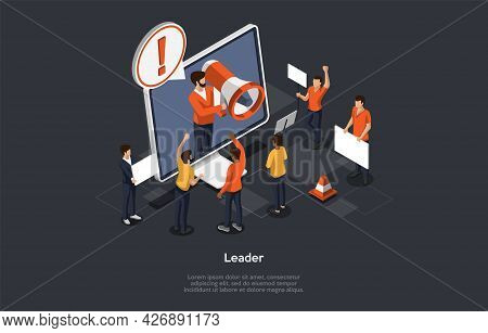 Isometric Composition On Dark Background. Vector 3d Illustration In Cartoon Style. Opinion Leader, I