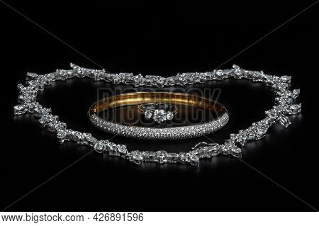 Close Up Group Of Jewelry Isolated On Black Background