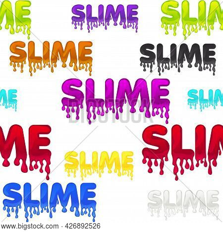 Seamless Pattern Colored Text Slime, White Texture With Sticky Substance For Wallpaper.