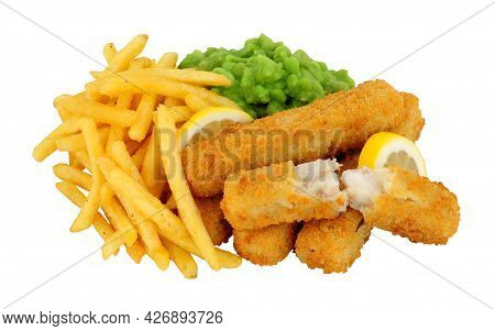 Breadcrumb Coated Fish Finger Sticks And French Fries Meal With Mushy Peas Isolated On A White Backg