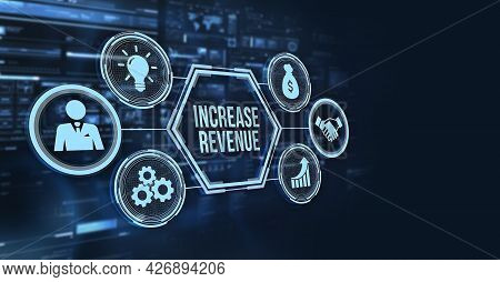 Internet, Business, Technology And Network Concept. Increase Revenue Concept. 3d Illustration