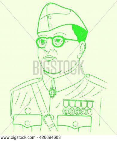 Sketch Of Indian Famous Freedom Fighter Netaji Subhash Chandra Bosh Outline Editable Illustration