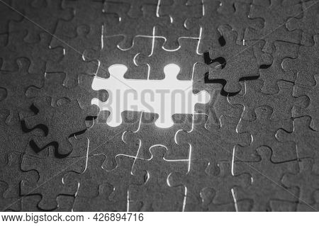 Assembled Puzzles, Folded Background Of Mosaic Pieces, Finding A Solution, The Last Puzzle, Bright L