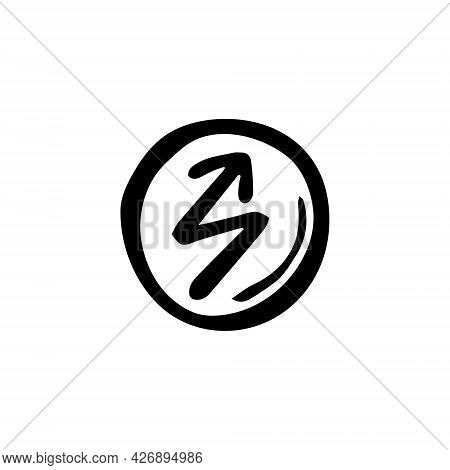 Magic Rune. Black Ink Vector Illustration. Witch Element. Halloween Design. Isolated On White Backgr