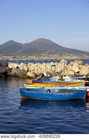 Naples, Italy - June 27, 2021: View Of The Port For Boats And Yachts On The Boulevard In Chiaia. Mou