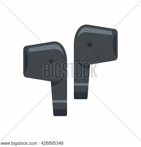 Mobile Wireless Earbuds Icon. Flat Illustration Of Mobile Wireless Earbuds Vector Icon Isolated On W