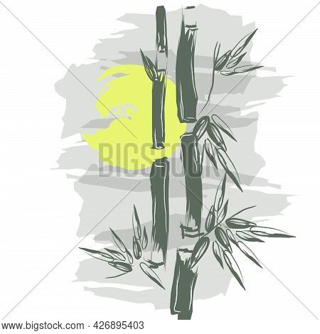 Bamboo Background. Bamboo Forests Of Asia. Hand Drawn Vector Illustration