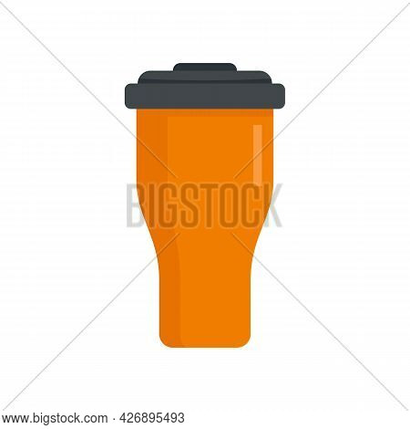 Hot Thermo Cup Icon. Flat Illustration Of Hot Thermo Cup Vector Icon Isolated On White Background