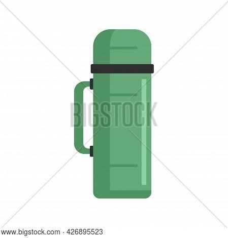 Plastic Thermo Bottle Icon. Flat Illustration Of Plastic Thermo Bottle Vector Icon Isolated On White