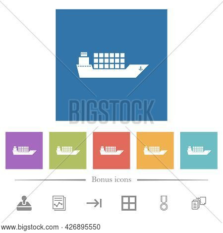 Freighter Flat White Icons In Square Backgrounds. 6 Bonus Icons Included.