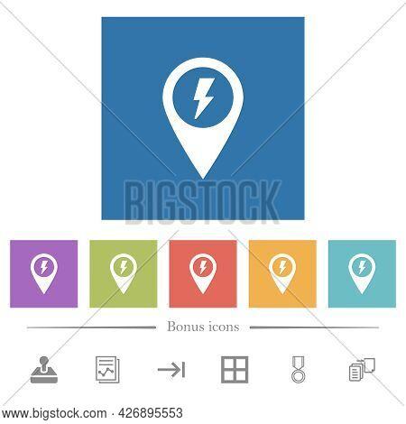 Fast Approach Gps Map Location Flat White Icons In Square Backgrounds. 6 Bonus Icons Included.