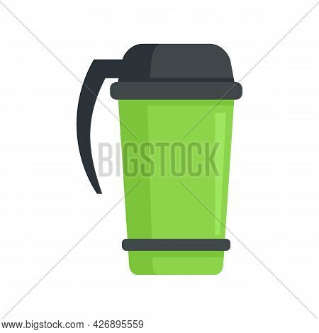 Coffee Thermo Cup Icon. Flat Illustration Of Coffee Thermo Cup Vector Icon Isolated On White Backgro
