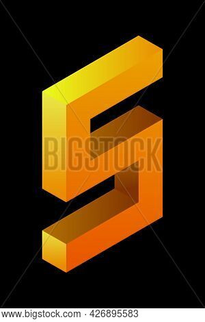 Gradient Golden Number 5 In Isometric Style. Yellow Figure Isolated On Black Background. Learning Nu