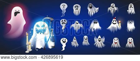 Set Of Ghost Characters Emoticons Isolated On White Background. Cute Ghosts Characters.vector Illust