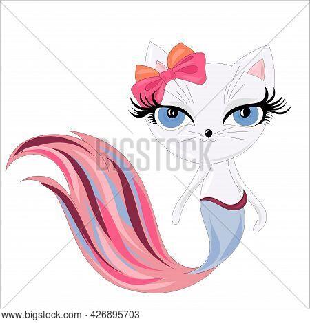 Vector Cute Cat Drawn As Mermaid For Tee Print. Cute Cat Mermaid, Vector Illustration For Children