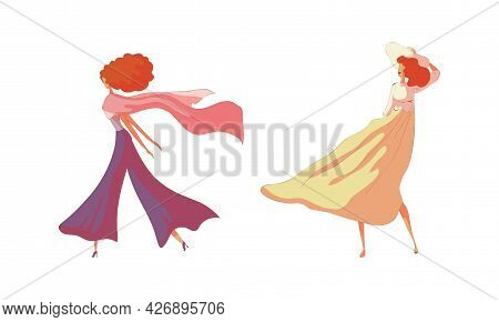 Energetic Woman Walking Along The Street With Winding Dress Vector Set