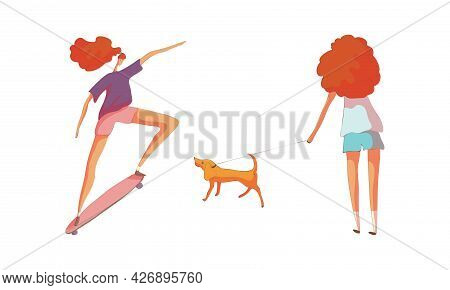 Energetic Woman Skateboarding And Walking The Dog Vector Set