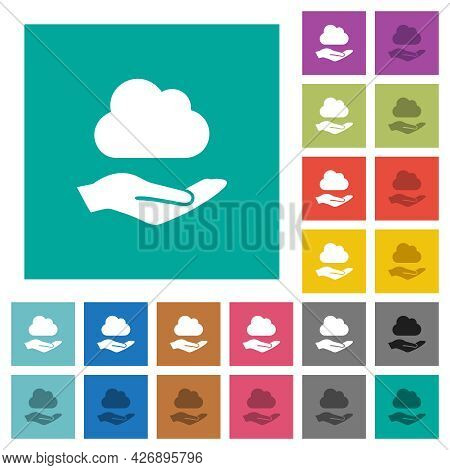 Cloud Services Multi Colored Flat Icons On Plain Square Backgrounds. Included White And Darker Icon