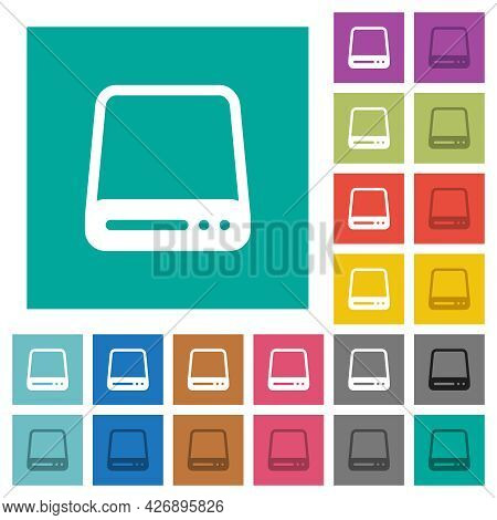 Hard Disk Drive Multi Colored Flat Icons On Plain Square Backgrounds. Included White And Darker Icon