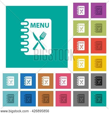 Menu With Fork And Knife Multi Colored Flat Icons On Plain Square Backgrounds. Included White And Da