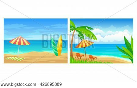 Landscape Panorama View With Sea Shore And Palm Tree Vector Set