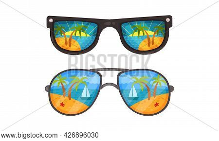 Sunglasses With Ocean Or Sea Shore With Palm Tree Reflection Vector Set