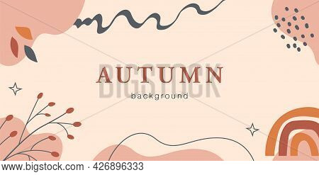 Boho Autumn Horizontal Banner Template. Trendy Abstract Background With Fall Season Forest Branches,