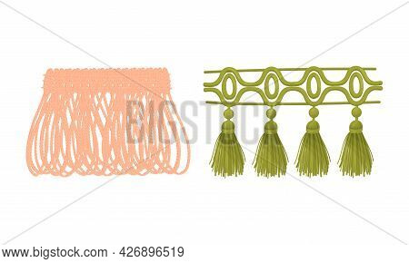 Fringe Trim And Tassel For Fabric And Clothing Decoration With Braided Cord And Yarn Skirt Vector Se