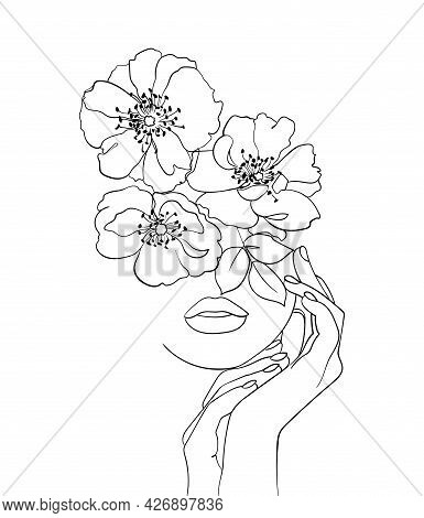 Beauty Face With Flowers Line Drawing Art. Beauty Salon Logo. Nature Symbol Of Cosmetics.- Vector Il