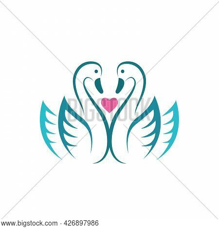 Vector Of Two Swan And Pink Heart On White Background. Birds. Animals. Easy Editable Layered Vector