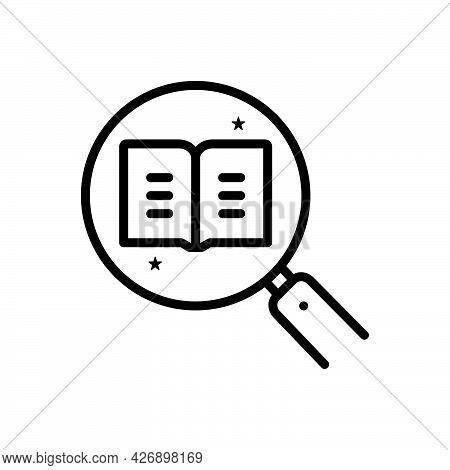 Black Line Icon For Thorough Entire Whole Accurate Careful Discover Investigation