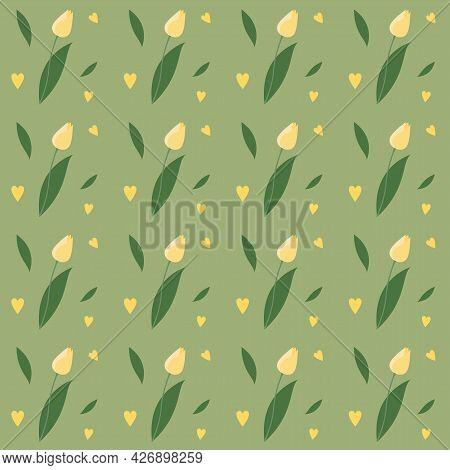 Seamless Pattern With Cute Yellow Tulips On Green Background. Endless Texture For Easter And Spring