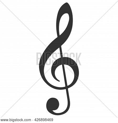 Treble Clef Or Classical Music Note Flat Vector Icon For Musical Apps And Websites Isolated On White