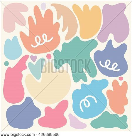 Random Organic Round Spot Blob Pebble Shape Set. Collection Of Abstract Irregular Colorful Stains Sh