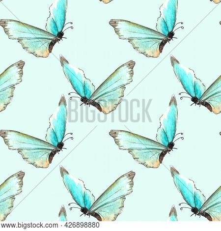 Seamless Pattern Of Blue Watercolor Abstract Translucent Butterflies. Hand Drawn Delicate Background
