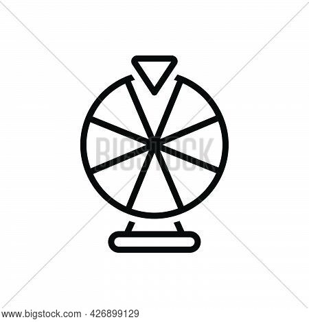 Black Line Icon For Fortune Wheel Lottery Gamble Roulette Chance Luck Fate Destiny
