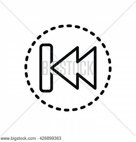 Black Line Icon For Reverse Go-back Back Revert Arrow Opposite