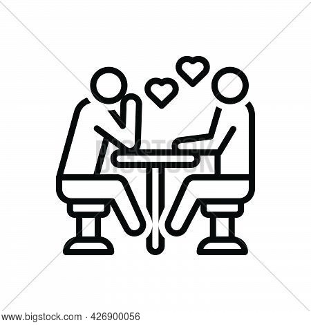 Black Line Icon For Interested Dating Romantic Restaurant Meeting People
