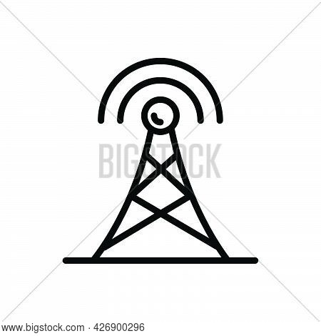 Black Line Icon For Aerial Antenna Broadcasting Frequency Cellular Connection Network