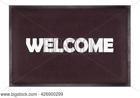 Modern Black Doormat Isolated On White - Welcome