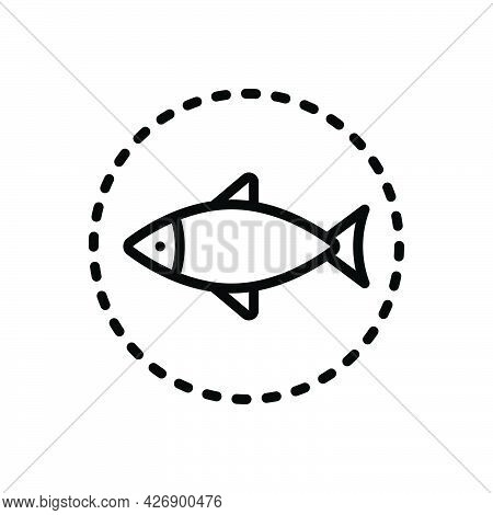 Black Line Icon For Seafood Delicious Dish Food Mackerel Fried