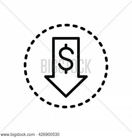 Black Line Icon For Cheaper Inexpensive Budget Investment Cheap Lower Dollar Down