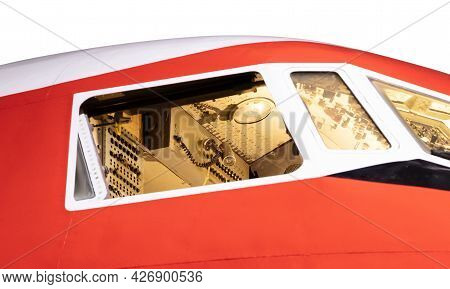 Aircraft Nose With Cockpit Window, Selective Focus