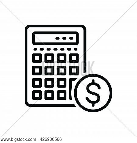 Black Line Icon For Estimates Calculation Editable Document Banking Arithmetic Dollar