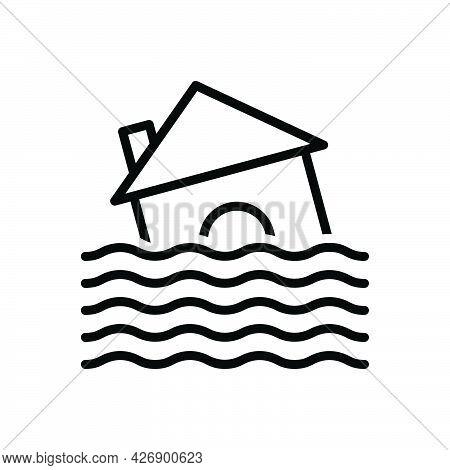 Black Line Icon For Flood Deluge Overflow Freshet Disaster Hurricane Water-damage Natural-disaster