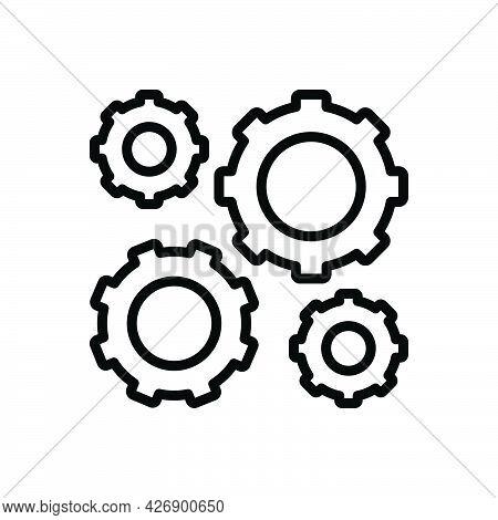 Black Line Icon For Mechanism Machine Appliance Setting Wheel Device Cogwheel