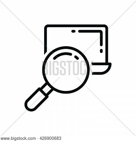 Black Line Icon For Obviously Clearly  Evidently Visibly Search Loupe Magnifier